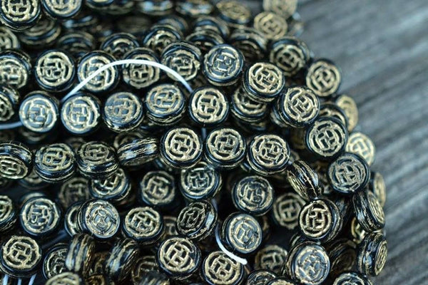 Czech Glass Coins w/ Gold Rose Pattern, Black - 8mm - 25-pc Strand