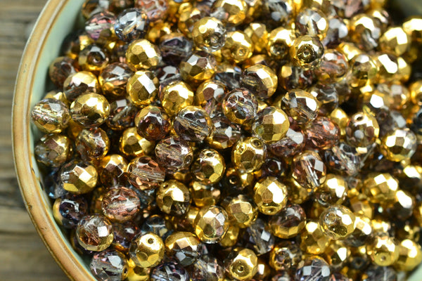 Czech Glass Faceted Two-Tone Gold/Mystic Faceted Round Beads - 8mm - 25-pc Set