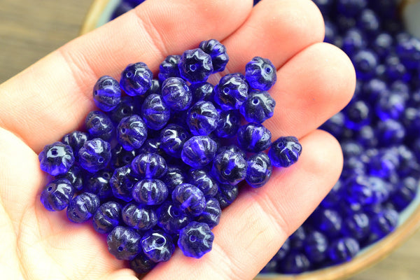 Czech Glass Melon Beads, Royal Blue - 8.5x6mm - 25-pc Set