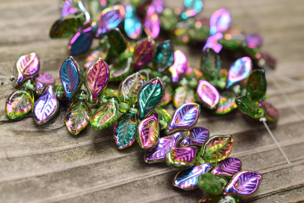 Czech Glass Pressed Leaves, Midsummer Night's Dream - 12x6mm - 25-pc Strand