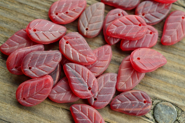 Czech Glass Pressed Red Leaf Beads - 14.5x9mm - 25-pc Set