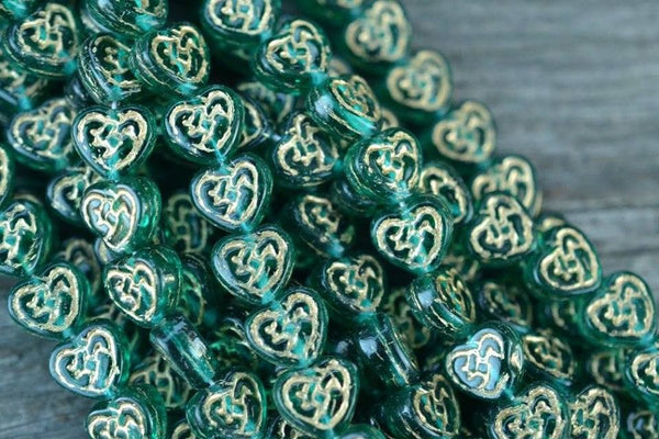 Czech Glass Heart w/ Gold Pattern, Teal - 9.5mm - 25-pc Strand
