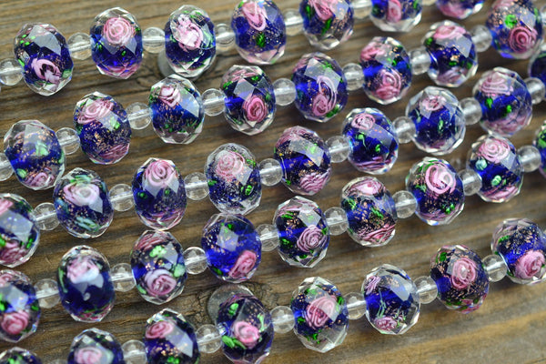 Faceted Chinese Lampwork Rondelle Beads, Blue w/ Rose in Clear - 12x8mm - 25-pc Strand