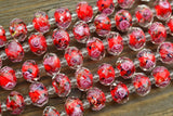 Faceted Chinese Lampwork Rondelle Beads, Red w/ Rose in Clear - 12x8mm - 25-pc Strand
