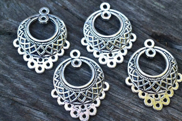 Antiqued Silver Patterned Chandelier Findings - 30x25mm - 4-pc Set