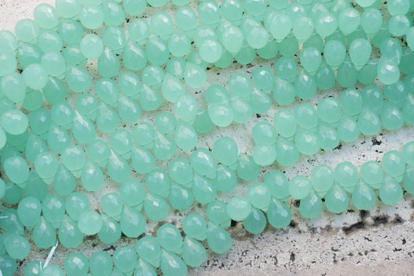Indian-Cut Faceted Chalcedony Brios, Dyed Sea Foam - Around 8x11mm - 5-pc Set