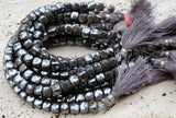 "Indian-cut Faceted Hematite Cubes, Weighty - Around 8mm - 8"" Strand"