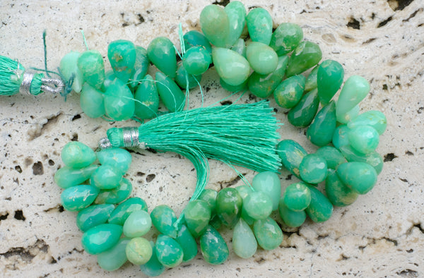 "Large Indian-Cut Faceted Chrysoprase Brios - 7-8mm x 11-15mm - 8"" Strand"