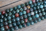 "Micro-Faceted Bloodstone Rounds - 10mm - 15"" Strand"