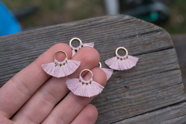 Gold-tone Circle Ring Tassels, Light Pink - Around 28mm, Some Variance in Size - 1-pc