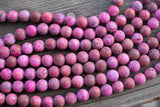 "MATTE Pink Crazy Lace Agate Rounds, Dyed - 10mm - 8"" Strand"