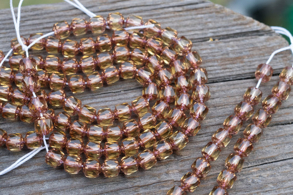 Faceted Czech Glass Cathedral Beads, Topaz & Gold - 6mm - 25-pc Strand