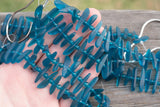 Cultured Sea Glass Fish-Bone Center-Drilled Stick Beads, Teal Blue - 18-25mm - 20-pc Strand