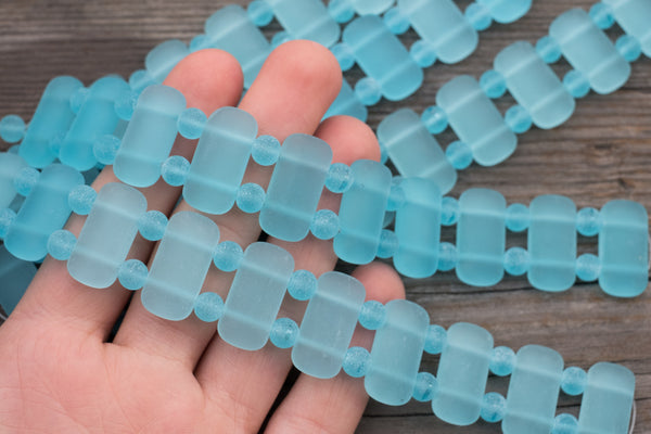 Cultured Sea Glass DOUBLE-DRILLED Rectangles w/ Spacers, Light Aqua - 24x12mm - 10-pc Strand