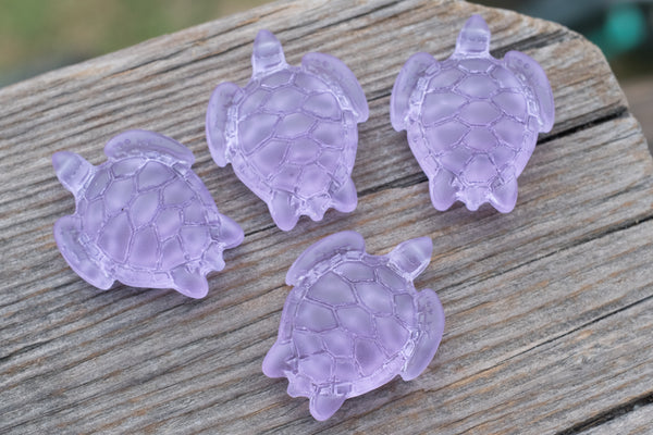 Cultured Sea Glass Turtle Pendants, Light Pink, Drilled through head - 35x27mm - 1-pc