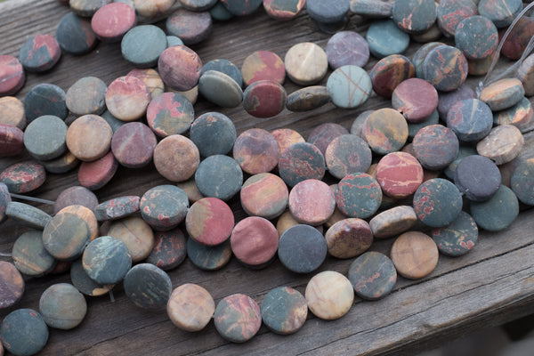 "MATTE Red Creek Jasper Coins - 12mm - 8"" Strand"