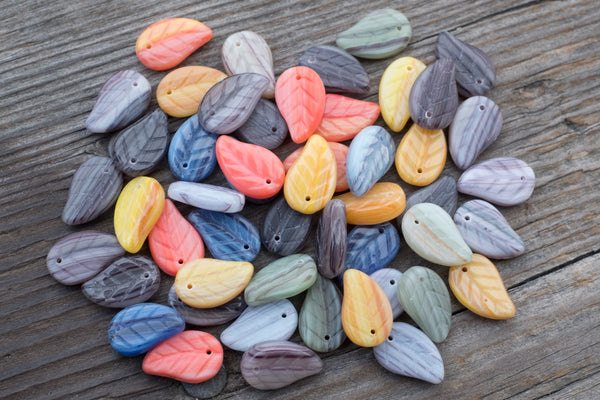 Czech Glass Top-Drilled Leaf Beads, Color Mix - 14mm - 50 Mixed Pieces