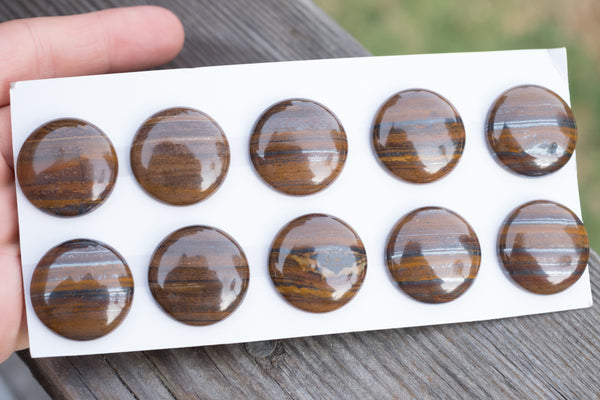Iron Zebra Jasper Coin Cabochons - 25mm - Sold Individually by #