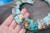 "Imitation Turquoise & Bronzite Graduated Composite (man-made) Collar - 20x25mm-25x35mm - 16"" Strand"