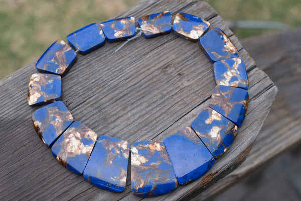 "Dyed Lapis and Bronzite Graduated Composite (man-made) Collar - 20x25mm-25x35mm - 16"" Strand"