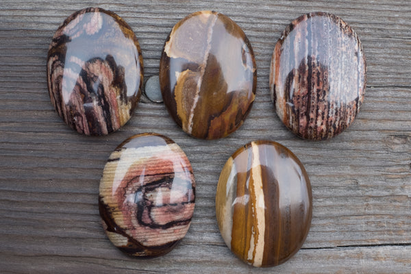 Iron Zebra Jasper Oval Cabochons (NO HOLE) - 40x30mm - Sold Individually by Number