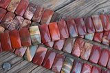 "Red Jasper DOUBLE-DRILLED Rectangles - 10x20mm - 8"" Strand"
