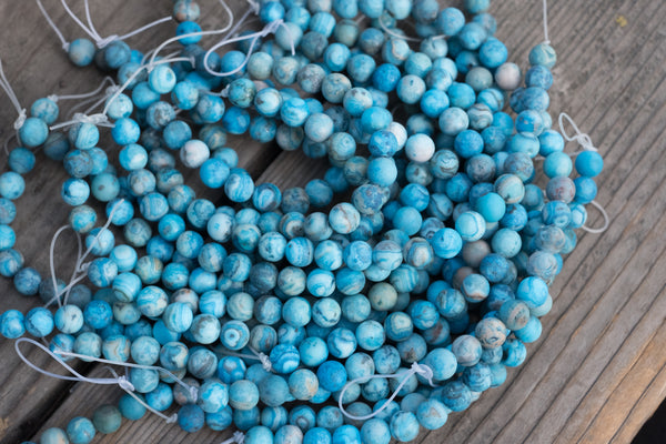 "MATTE Blue Crazy Lace Agate Rounds - 8mm - 8"" Strand"