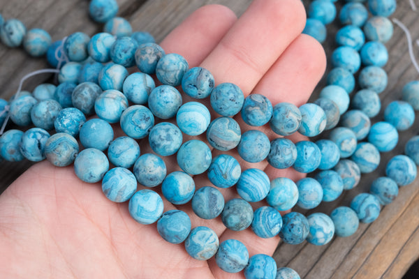 "MATTE Blue Crazy Lace Agate Rounds - 10mm - 8"" Strand"