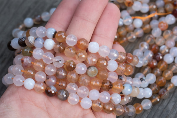 "Faceted Agate Rounds - 8mm - 15"" Strand"