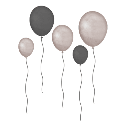 Wallsticker - That's Mine, Balloons 5 pk, Grey brown