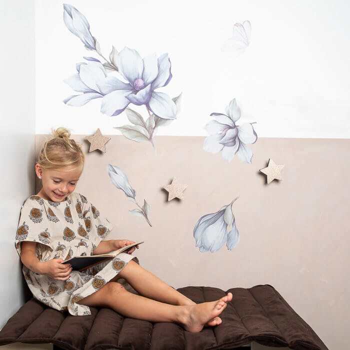 Wallsticker - That's Mine, Magnolio flower (Blå)