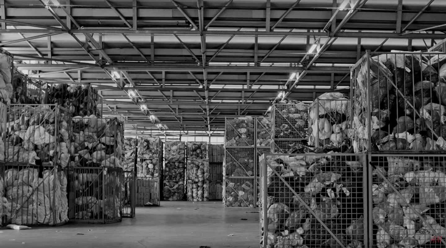 H&M recycled clothing in warehouse