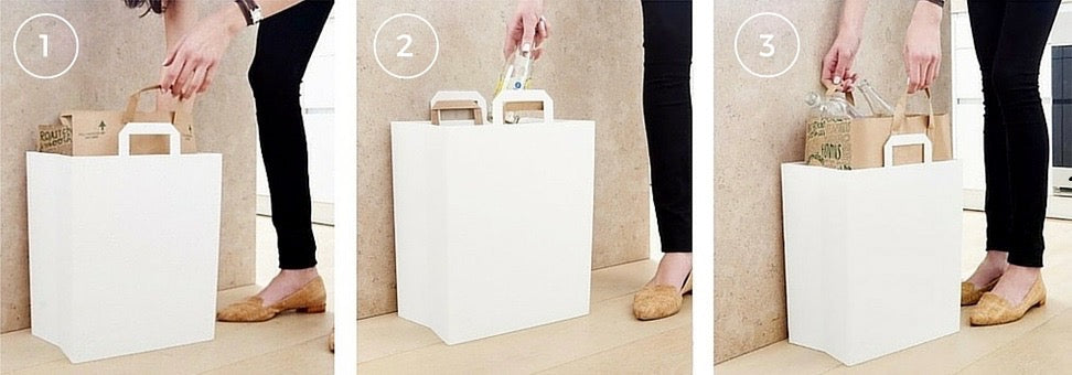 1. Insert paper grocery bag