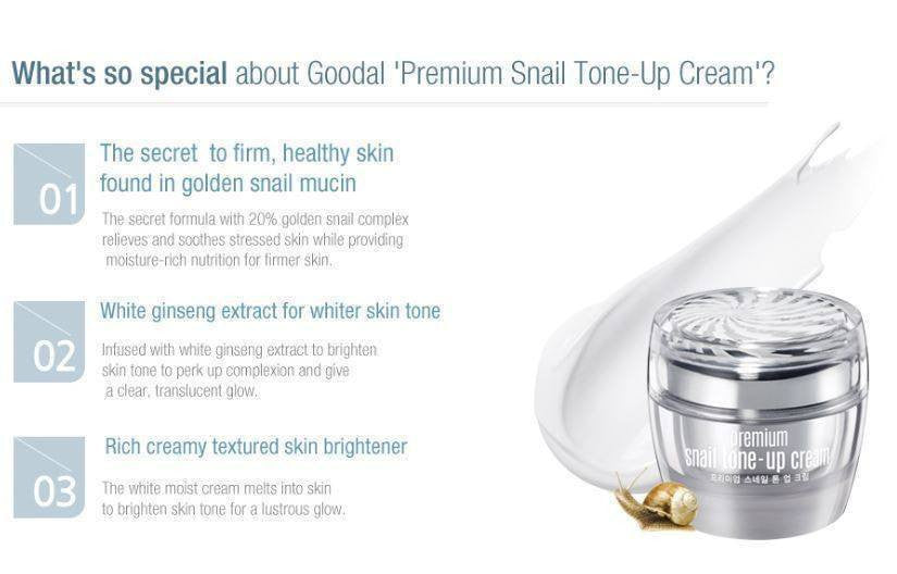 GOODAL Premium Snail Tone-Up Cream made by Goodal is a Moisturizer lovingly curated by Lilac and Berries - a Korean skincare store in Australia and NZ