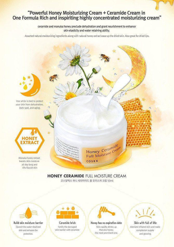 Cosrx Honey ceramide full moisture cream made by Cosrx is a Moisturizer lovingly curated by Lilac and Berries - a Korean skincare store in Australia and NZ