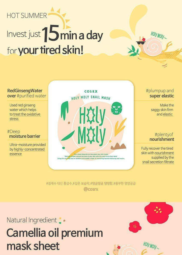 Cosrx Holy Moly Snail Mask made by Cosrx is a Face mask lovingly curated by Lilac and Berries - a Korean skincare store in Australia and NZ