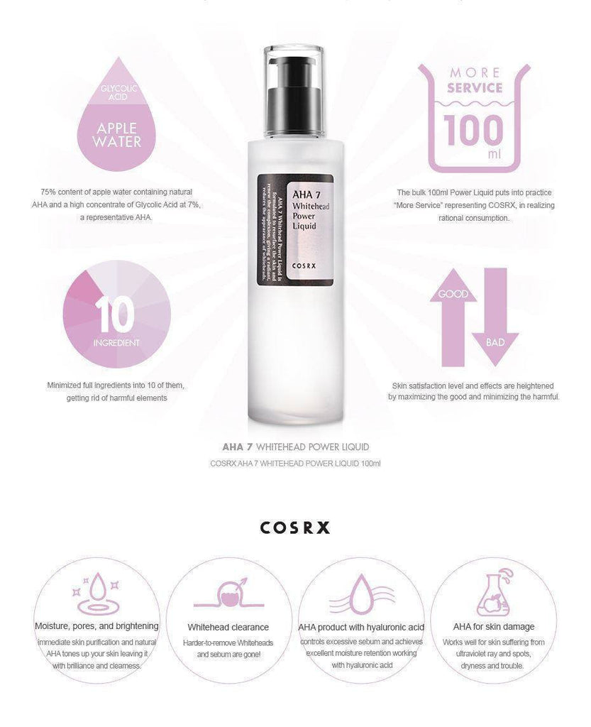 Cosrx AHA 7 Whitehead Power Liquid made by Cosrx is a toner lovingly curated by Lilac and Berries - a Korean skincare store in Australia and NZ