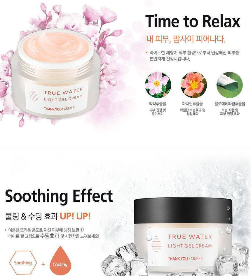 Thank You Farmer True Water Light Gel Cream made by Thank You Farmer is a Moisturizer lovingly curated by Lilac and Berries - a Korean skincare store in Australia and NZ