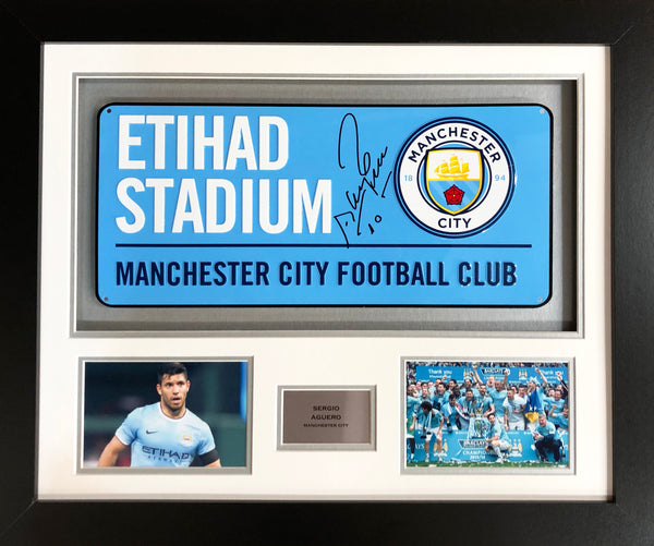 Sergio Aguero Manchester City Street Sign 3D Display with COA - Kicking The Balls