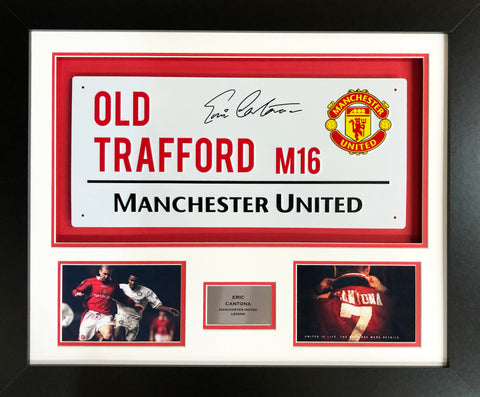 Eric Cantona Manchester United Street Sign 3D Display with COA - Kicking The Balls