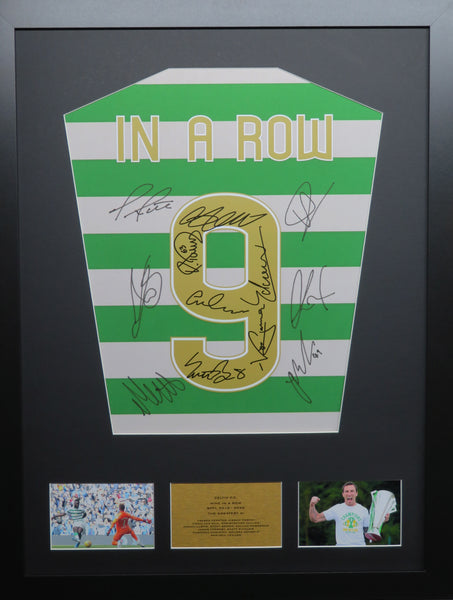 Celtic 9 In A Row Team signed shirt with COA