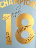 Champions 18 Manchester City aguero, de bruyne, kompany , silva, and sterling Signed Shirt 3d Display with COA - Kicking The Balls