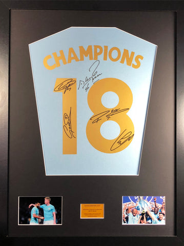Champions 18 Manchester City aguero, de bruyne, kompany , silva, and sterling Signed Shirt Display with COA - Kicking The Balls