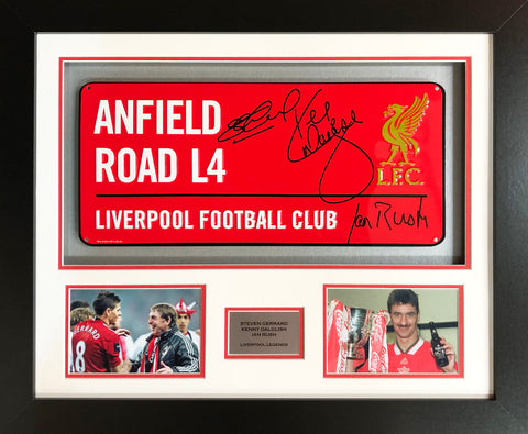 Gerrard, Dalglish and Rush Liverpool Street Sign 3D Display with COA