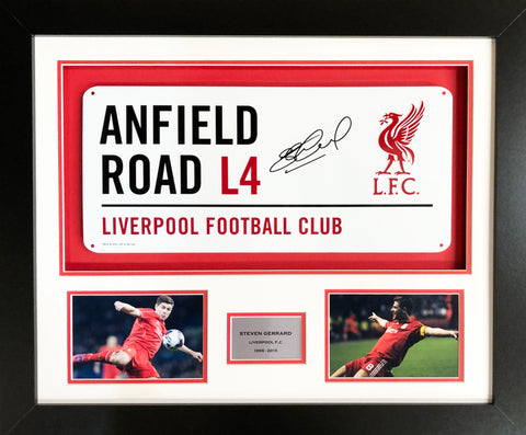 Steven Gerrard Signed Liverpool Street Sign 3D Display with COA - Kicking The Balls