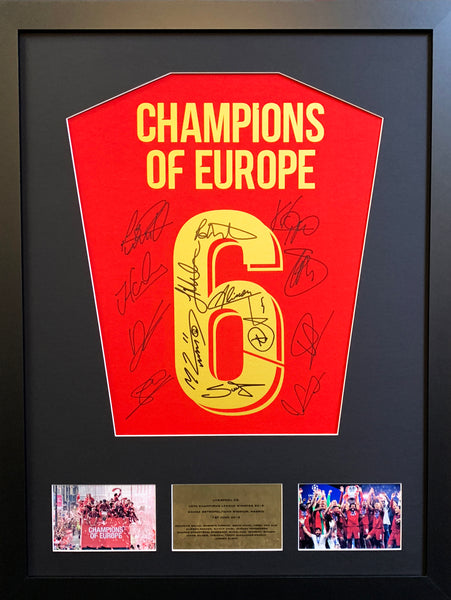 Liverpool Team Signed Shirt Champions League Display with COA - Kicking The Balls