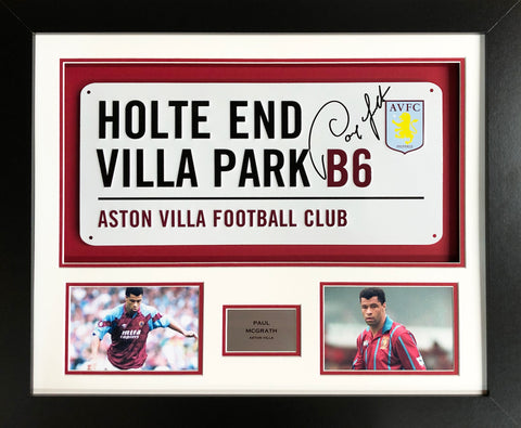 Paul McGrath Aston Villa Street Sign 3D Display with COA - Kicking The Balls