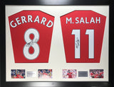 Gerrard and Salah Liverpool Signed Shirt Display with COA - Kicking The Balls