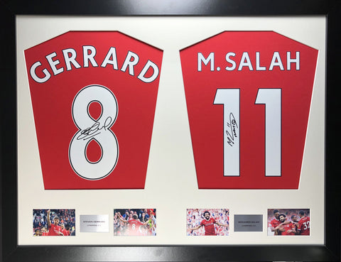 Gerrard and Salah Liverpool Signed Shirt Display with COA