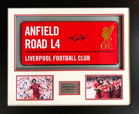 Mohamed Salah Liverpool Street Sign 3D Display with COA - Kicking The Balls